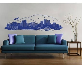 20% OFF Summer Sale Anchorage, Alaska Skyline wall decal, sticker, mural, vinyl wall art