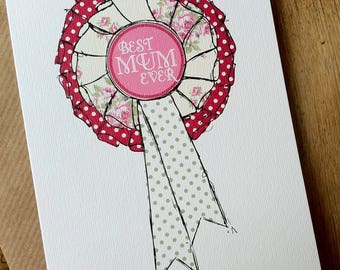 MUM ROSETTE Mother's Day Card