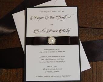 Black and Pearl Wedding Invitation, Pearl Wedding Invitation, Black Wedding Invitation, Modern Wedding Invitation