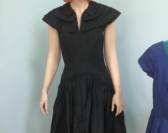 50's Black Taffeta Dress,Size S , Steampunk