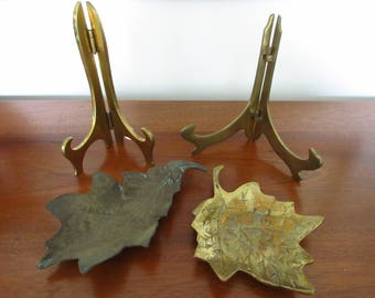 Vintage Mid Century Brass Easels Brass Leaves Brass Brass Accessories Boho Brass Brass Trinket Dish Brass Change Dish