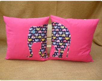 Pink Elephant Cushions, Baby Nursery Decor, Elephant Cushion, Nursery Pillow, Elephant Pillows, Baby Shower Gift, Cushions for Girls, Animal