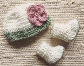 Crochet Baby Sets Beanie & Bootie