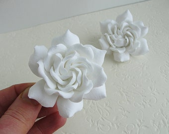 White Gardenia Hair Clip 1 pc, White Weddings Flowers, Real Touch, Beach Wedding, Gardenia bridal Flower, Hawaiian, Fascinator, Tropical