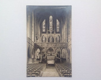Postcard Photo of St Augustine's Church Kilburn North London Real Photo Stained Glass Window Unposted