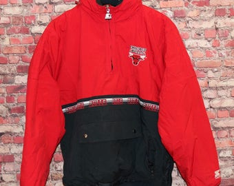 Vtg 1990s Starter Chicago Bulls NBA Pull Over Jacket Coat Sz XL- Jordan Era