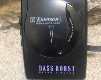 Vintage Emerson Cassette Player  Walkman with Bass Boost