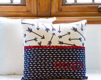 Pocket Reading Pillow - Navy Blue Arrow