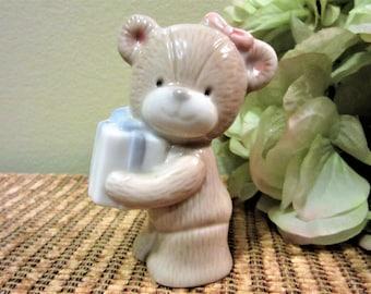 Sale Teddy Bear Figurine Girls Room Decor Shelf Sitter Porcelain Ceramic Vintage blm