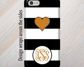 iPhone 8 Case, Monogram, iPhone 6 Case, iPhone 7 Case, iPhone 7 Plus Case, Galaxy S8 Case, Black Stripes, iPhone 8 Plus Case Galaxy S7 Case