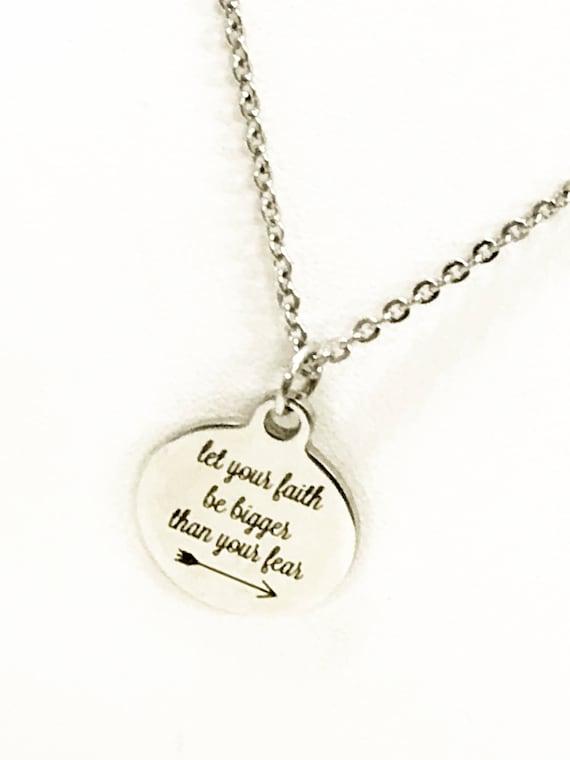 Faith Necklace, Let Your Faith Be Bigger Thank Your Fear Necklace, Faith Gifts, Faith Not Fear Necklace, Success Quotes, Motivation Quotes