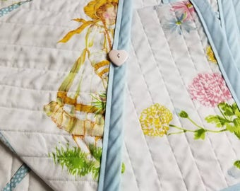 Handmade Vintage Holly Hobbie Child/Lap/Throw/Baby size Quilt (51x32in)