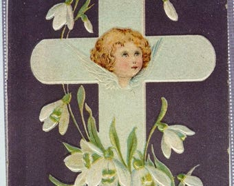 Clearance Sale Antique Easter Postcard With Angel and Cross