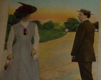 ON SALE till 7/28 Do You Remember?  LOVE and Romance Antique Postcard