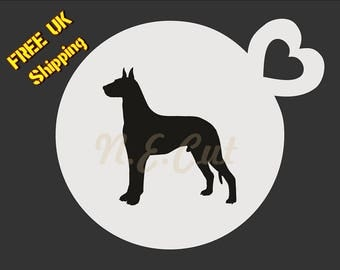 GREAT DANE - Dog Stencil - Coffee Cup-Cup Cake-Face Paint stencil Free shipping DOGC031