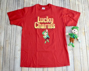 90s LUCKY CHARMS Cereal T-Shirt TShirt T Shirt Tee // Size Large Mens Womens // Leprechaun 1990s Promo Breakfast Plush Breakfast Pals