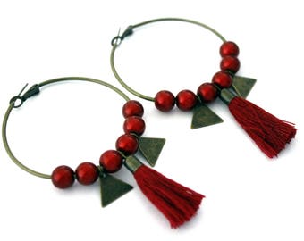 Large hoop earrings red with Pompom and sequin triangles-vintage retro brass