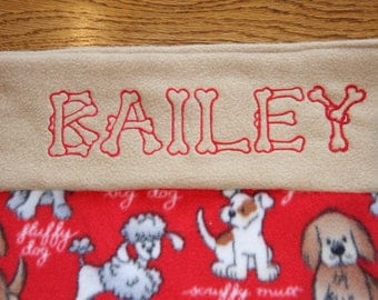 MADE TO ORDER - Reversible Personalized Dog Blanket puppy blanket dog gift Embroidered Pet Blanket Custom dog blanket fleece blanket