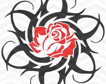 Tribal SVG / Rose SVG / Tribal Rose svg dfx pdf gif / Tribal Rose Clip Art Cut File for Silhouette Machine / DIY Craft Cutter svg file