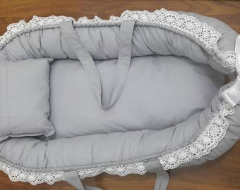 Baby Nest - Grey Babynest - Baby Sleeping Bed - Baby Pillow - Travel Baby Bed - Baby Sleep pod