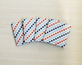 Set of 4 orang-navy dot printed fabric coasters