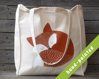 fox handbag/ woodland nursery/ nursery tote bag/ fox purse/ fox gifts/ market bag/ cotton tote bag/ fox gift/ tote bag/ animal bag/ eco bag