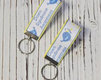 Key Chain, Ribbon Key Chain, Down Syndrome Awareness Key Chain,  Key Chain, Key Holder, Zipper Pull