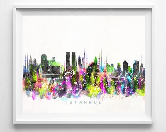 Istanbul Skyline Print, Turkey Print, Istanbul Poster, Turkey Cityscape, Watercolor Painting, Wall Decor, Gift For Her Decor, Gift For Her