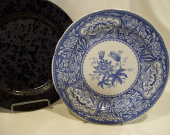 Blue Spode Floral Pattern,Spode Archive,Spode Plate,The Blue Room Collection, Spode China,Blue Transferware,Blue Flowers