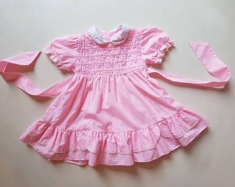 Vintage smocked toddler dress. Approx size 2T smocked toddler dress