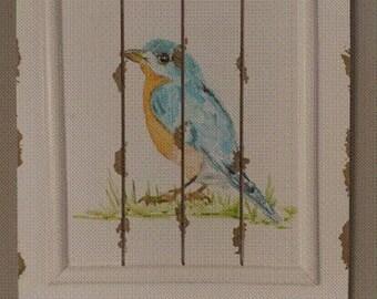 Shabby Chic Distressed Blue Bird Shelf