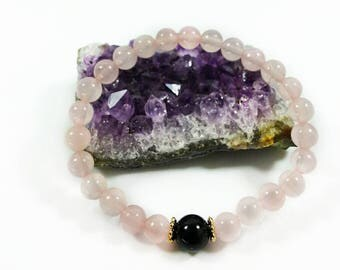 Rose Quartz Bracelet -w/ Black Tourmaline & 24k Gold Filled, Grade AAA, 6mm, Rose Quartz Black Tourmaline for Women, AAA Rose Quartz