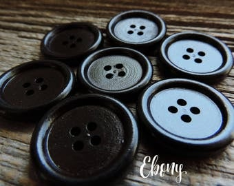 """Solid Wood Ebony Color Button 