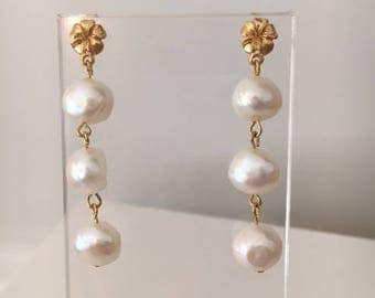 Freshwater Pearl and Gold Earrings