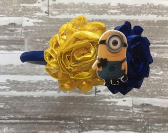 FREE SHIPPING- Minion Headband - Minion Birthday - Minion Outfit - Minion Party - Despicable Me