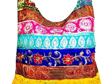 Women cotton Handmade artisan Ethnic indian vintage boho hand Embroidered with sequin, mirror and ari Work Crossbody Shoulder Handbag tote.