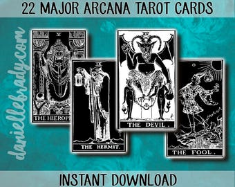 Printable Tarot Cards 22 Major Arcana Cards Collage Sheet Instant Download