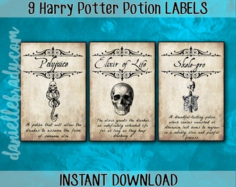 Printable Harry Potter Inspired Potion Apothecary Labels Collage Sheet