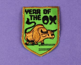 Year of the Ox Chinese Zodiac Vintage 1970s NOS Patch