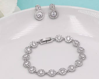 Earrings Bracelet Set, Silver Crystal wedding bracelet, Bridesmaid bracelet, cubic zirconia bracelet, bridal jewelry, bracelet set 268775864