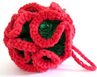 Crochet Christmas Facial Pouf Bath Loofah Red Green Cotton