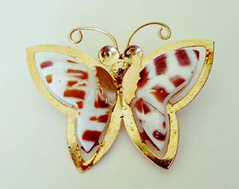 Vintage 1970s Gold Tortiseshell Shell Butterfly Brooch