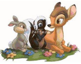 Bambi, Thumper and Flower. Cross Stitch Kit.