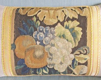 18th Century Aubusson Hand Woven Tapestry Cushion - Pillow - 1700s - Flowers & Fruit - 2