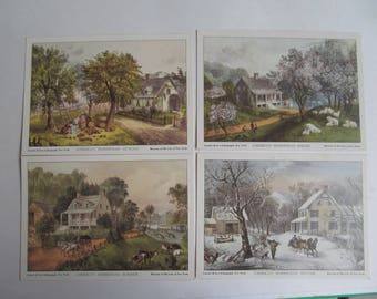 Seasonal  Lithographs -Currier and Ives - American Homestead - 5 x 7  set of 4 - Vintage Prints