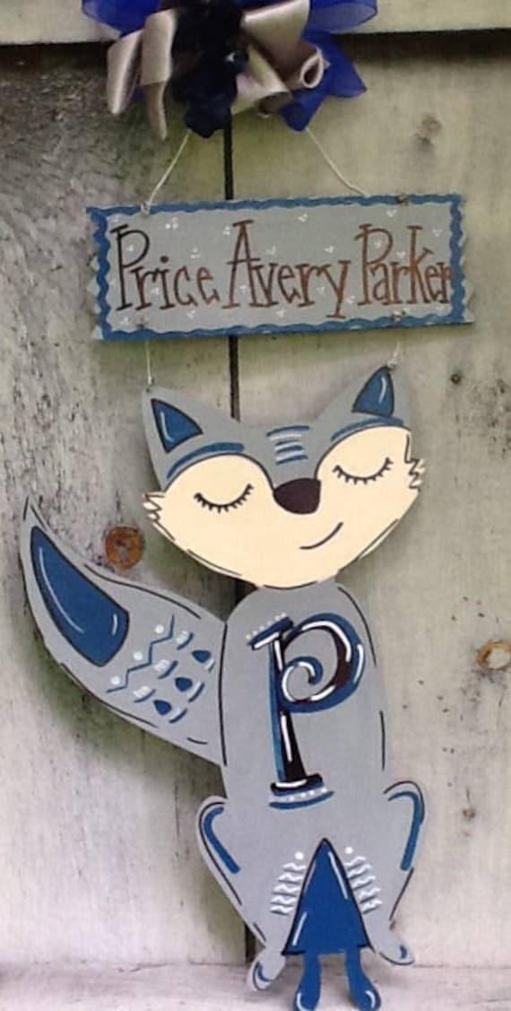 Like this item. fox door sign Fox door hanger Nursery room decor nursery