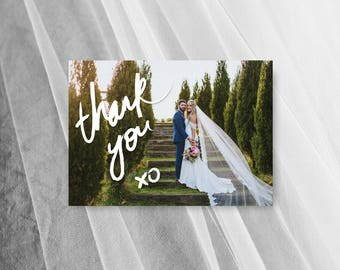 Photo Wedding Thank You Card Printable Postcard Brush Lettering Digital Download DIY Template