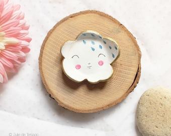 Small cloud white jewelry holder dish