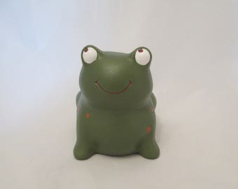 Brown on Green Ceramic Froggy Bank