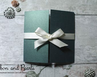 Wedding Stationery. Irish Themed Wedding Stationery. Emerald Green and Ivory Wedding Invitation.